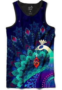 Camiseta Regata Long Beach Psicodélica Pavão Misterioso Sublimada Azul Marinho