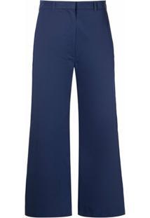Kenzo Calça Cropped De Algodão - Azul