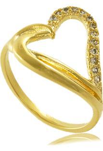 Anel Coração Com Zircônias Cravejadas 3Rs Semijoias Dourado