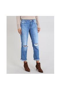 Calça Jeans Feminina Reta Destroyed Com Botões Azul Médio