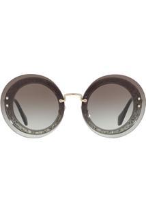 Miu Miu Eyewear Óculos De Sol Arredondado - Cinza