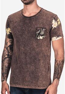 Camiseta Manga Floral Chocolate Stone 101906