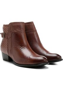 Bota Couro Cano Curto Shoestock Flat Tressê Feminina - Feminino-Caramelo