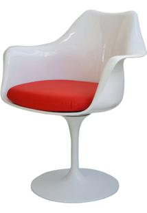 Cadeira Saarinen Branco Com Braco (Almofada Vermelha) -15055 - Sun House