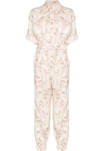 Zimmermann Justi Printed Cotton Boiler Jumpsuit - Neutro