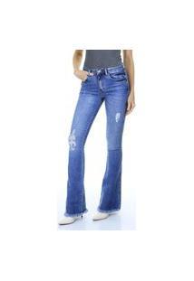 Calça Jeans Flare Destroyed Com Detalhe No Bolso Aha