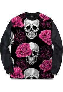 Blusa Bsc Skull Pink Rose Full Print - Masculino