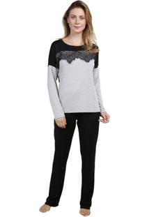 Pijama Inspirate De Inverno Com Renda Feminino - Feminino-Cinza+Preto