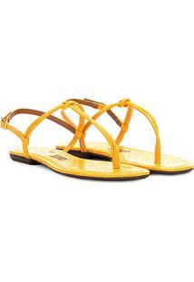 Rasteira Santa Lolla Croco - Feminino-Amarelo