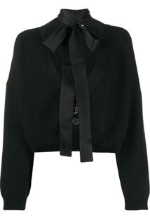 Red Valentino Cropped Tie Neck Cardigan - Preto