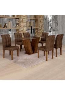 Conjunto De Mesa De Jantar Classic Com 6 Cadeiras Vitória Veludo Chocolate Marrom