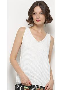 Blusa Crochê Mercatto Regata Feminina - Feminino-Off White