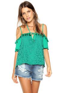 Blusa Ciganinha Colcci Renda Verde - Kanui