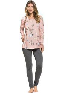 Pijama Inverno Floral Feminino - Feminino-Rosa Claro