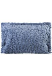 Porta Travesseiro De Pele Azul