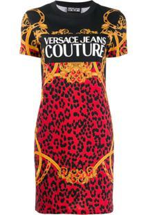 Versace Jeans Couture Vestido Reto Com Mix De Estampas - Preto