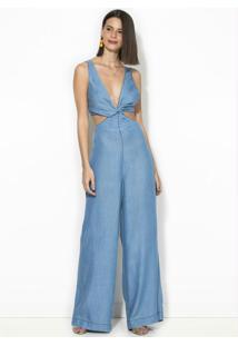 Macacão Abertura Refarm Jeans Azul