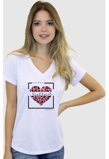 Baby Look T-Shirt Feminina Suffix Branca Gola V Estampa Coração De Onça Rosa