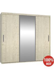 Guarda Roupa 3 Portas Com 1 Espelho 100% Mdf 1975E1 Marfim Areia - Foscarini