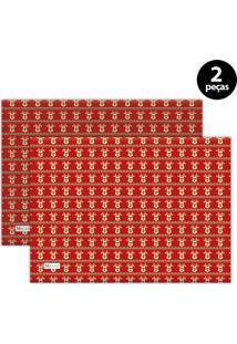 Jogo Americano Mdecore Natal Renas 40X28 Cm Vermelho 2Pçs