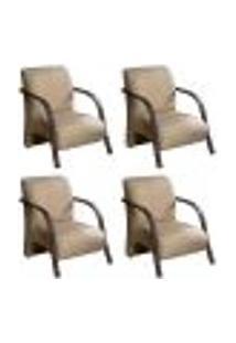 Conjunto De 4 Poltronas Sevilha Decorativa Braço De Madeira Cadeira Para Recepção, Sala Estar Tv Espera, Escritório, Vários Ambientes - Linho Marrom