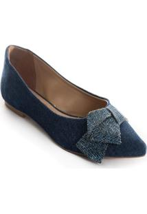 Sapatilha Lepoti Bico Fino Jeans Azul - Azul Marinho - Feminino - Dafiti