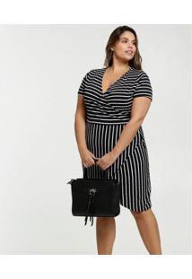Vestido Listrado Transpassado Plus Size Feminino - Feminino-Preto