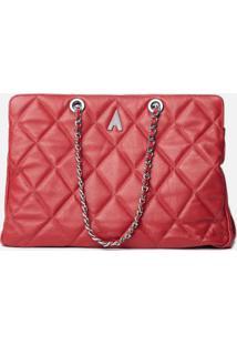 Bolsa Leather Duo Matelassê Vermelho