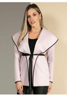 Casaco Rosê Em Matelassê Com Faixa Para Cintura