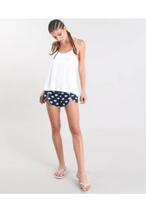 Short Doll Feminino Estampado De Nuvens Com Renda Off White
