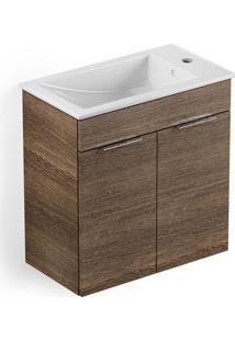 Gabinete Integrado Em Mdf Para Banheiro Com Lavatório Cube 60X34Cm Com 2 Portas Wengue