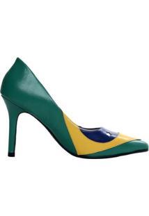 Scarpin Brasil Salto Alto Brasil - Feminino-Verde+Amarelo