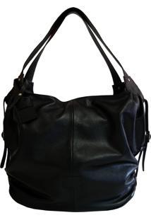 Bolsa Line Store Leather Mal㺠Couro Preto. - Preto - Feminino - Dafiti