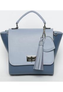 Bolsa Em Couro Com Recortes- Azul & Azul Marinho- 26Griffazzi