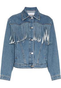 Msgm Jaqueta Jeans Com Franjas - Azul