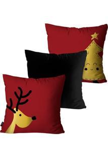 Kit Com 3 Capas Para Almofadas Pump Up Decorativas Natalinas Elementos De Natal Estilo Infantil 45X45Cm - Vermelho - Dafiti