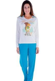 Pijama Feminino Victory Inverno Frio Longo Canelado - Feminino-Verde