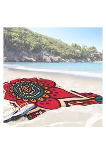 Toalha De Praia / Banho Mandala Red One Único