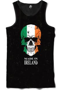 Regata Bsc Caveira País Irlanda Sublimada Frente Preto