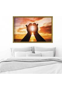 Quadro Love Decor Com Moldura Paz Dourado - Grande