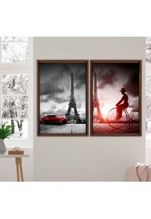 Quadro Love Decor Com Moldura Chanfrada Paris Madeira Escura - Grande