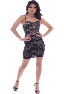 Vestido Gisele Freitas Curto Em Renda Decote Trançado Nude 182