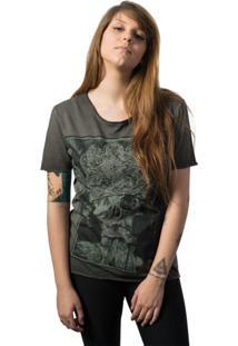 Camiseta Skull Lab King Corte A Fio Cinza