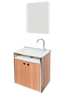 Gabinete De Banheiro Com Lavatório E Espelheira Cris-Classic 42X62,5Cm Branco E Amadeirado Cris-Metal