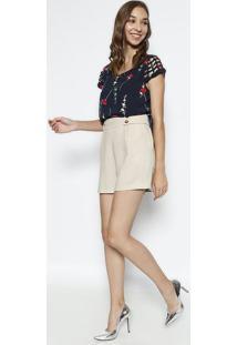 Blusa Floral Com Vazado- Azul Marinho & Vermelha- Mimiliore