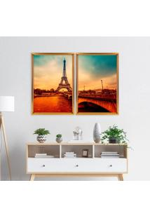 Quadro Love Decor Com Moldura Chanfrada Paris Envelhecido Dourado - Grande