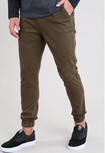 Calça De Sarja Masculina Jogger Verde Militar