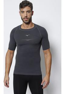 Camiseta Com Bordado Da Marca- Cinza Escuro & Cinza Clarmizuno
