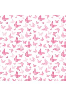 Papel De Parede Quartinhos Adesivo Infantil Borboletas Rosa 2,70X0,57M