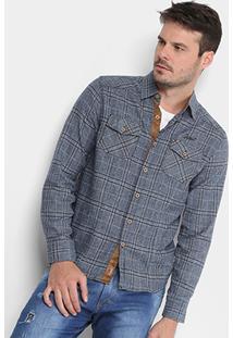 Camisa Xadrez Gangster Flanela Bolsos Masculina - Masculino
